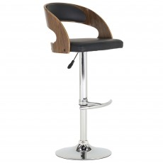 Flair Bar Stool Black & Walnut