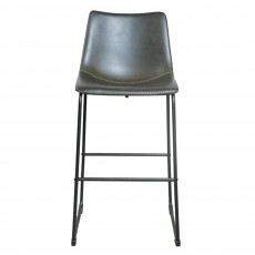 Cooper Bar Stool Faux Leather Grey