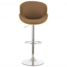 Nancy Bar Stool Faux Leather Beige & Oak
