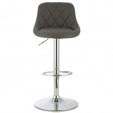 Mace Bar Stool Faux Leather Grey