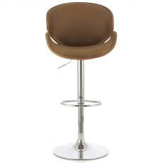 Nancy Bar Stool Faux Leather Beige & Walnut