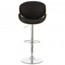 Nancy Bar Stool Faux Leather Black & Oak