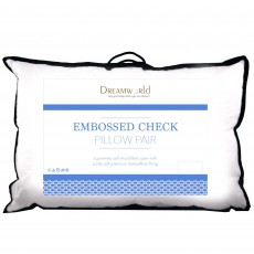 Dreamworld Embossed Check Microfibre Pillow Pair