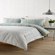 Christy Kingsley Linear Reversible Duvet Cover Set Denim/Mustard