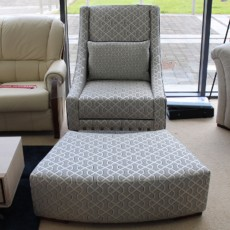 Rachel Accent Chair + Curved Footstool Fabric (Available in Galway) WAS €1,593 NOW €699