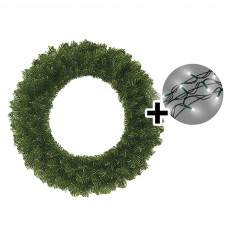 60cm Colorado Wreath Green Tips & 480 LED Battery Operated String Lights Multi Coloured
