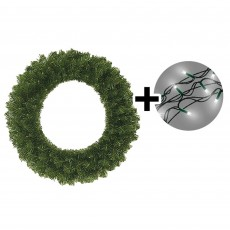 45cm Colorado Wreath Green Tips & 192 LED Battery Operated String Lights Warm White