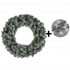 60cm Empress Spruce Wreath Green Tips & 480 LED Battery Operated String Lights Warm White