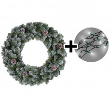 45cm Empress Spruce Wreath Green Tips & 192 LED Battery Operated String Lights Multi Coloured