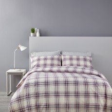 Christy Thurloe Super King Check Duvet Cover Set Lilac