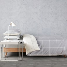Christy Elphin Super King Check Duvet Cover Set Grey