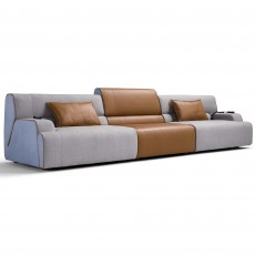 Egoitaliano Babouche 5+ Seater Fabric Sofa With Leather Centre Section With 2 Electric Extensions
