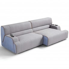 Egoitaliano Babouche Modular 4 Seater Sofa Low Back With 2 Electric Extension Fabric B