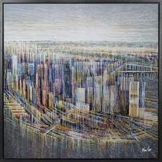 Artko Aerial Manhattan 84cm x 84cm Picture Black Frame by Marc Todd