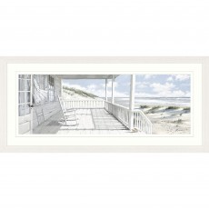 Artko Seaside Retreat 123cm x 57cm Picture White Frame by Macneil