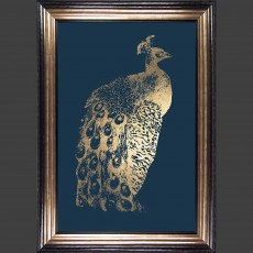 Camelot Gold Foil Peacock I 82cm x 115cm Picture Brown & Gold Frame by Grace Popp