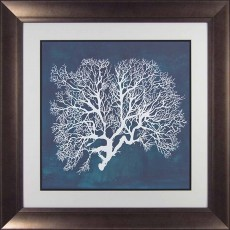 Camelot Sea Fan III 74cm x 74cm Picture By Grace Popp Dark Gold Frame