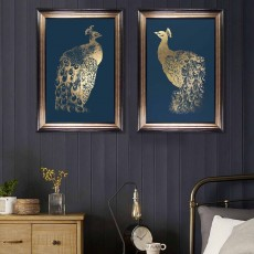 Camelot Gold Foil Peacock II 82cm x 115cm Picture Brown & Gold Frame by Grace Popp