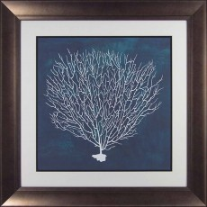 Camelot Sea Fan IV 74cm x 74cm Picture By Grace Popp Dark Gold Frame