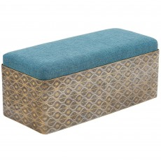 Mindy Brownes Dania Bench Fabric Blue