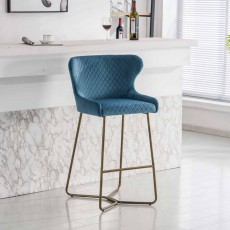 Karla Bar Stool Velvet Fabric Blue