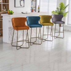Karla Bar Stool Velvet Fabric Grey