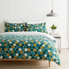 Christy Kingsley Honeycomb Reversible Duvet Cover Set Teal