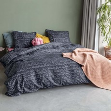 Snurk Twirre Duvet Cover Set Flannel Charcoal Black