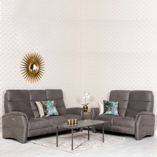 Fjord Electric Reclining 2 Seater Sofa Suede Look Grey