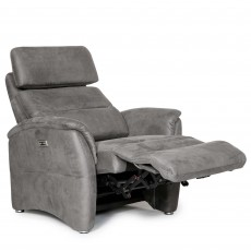 Fjord Electric Reclining Armchair Suede Look Grey
