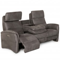 Fjord Electric Reclining 3 Seater Sofa Suede Look Grey