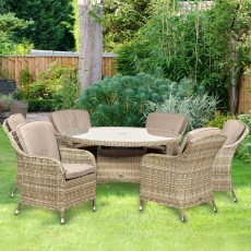 Royalcraft Wentworth 6 Person Rattan Outdoor Round Dining Set With Imperial Chairs Beige