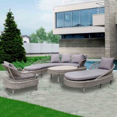 Serenity Curved 6 Person Outdoor Sofa Set With Sofa, Sun Lounger, Armchair & Coffee Table Grey