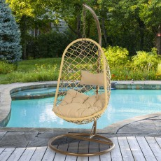 Bologna Hanging Outdoor Egg Chair Brown