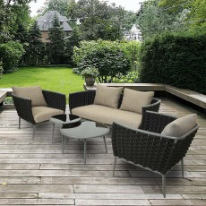 Monza 2 Seater Outdoor Sofa, 2 Armchairs + Nest of Tables (2) Set Anthracite