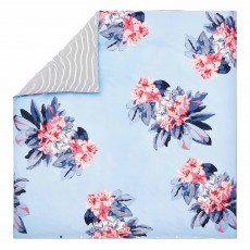 Joules Cornish Floral Reversible Double Duvet Cover Set Pale Blue