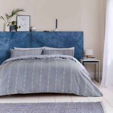 Helena Springfield Chambray Super King Duvet Cover Set Soft Blue