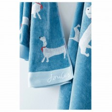 Joules Sausage Dog Bath Towel Blue