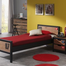 Vipack Alex Single (90cm) Bedstead Pine & Black