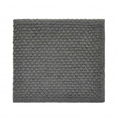 Peacock Blue Hotel Real Knitted Throw 130cm x 150cm Gunmetal