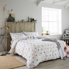 Joules Garden Dogs Reversible Duvet Cover White