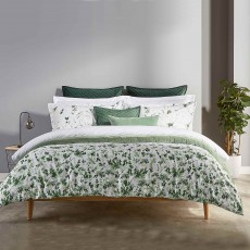Christy Leaf Fronds Reversible Duvet Cover Set Green