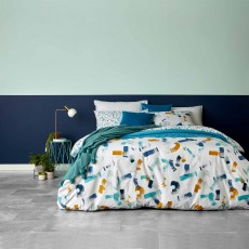 Christy Casper Reversible Duvet Cover Set Blue/Ochre
