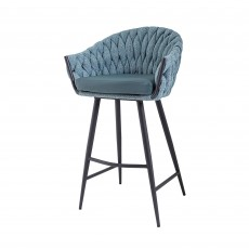 Mindy Brownes Blake Bar Stool Aquamarine Tweed, Fabric & Faux Leather