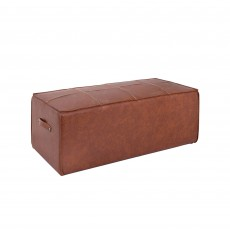 Mindy Brownes Logan Large Ottoman Faux Leather Tan