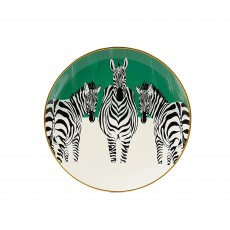 Mindy Brownes Zebra Plates Green, White, Black, Yellow & Orange (Set of 4)