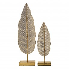 Mindy Brownes Leaf Sculpture 1 Bright Gold (Set of 2)