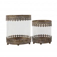 Mindy Brownes Zoe Lantern Antique Brass with Lilac Undertones (Set of 2)