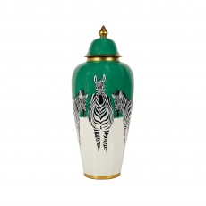 Mindy Brownes Zebra Large Jar Green, Black, White & Gold