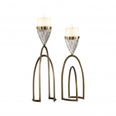 Mindy Brownes Carma Candle Holder Bronze (Set of 2)